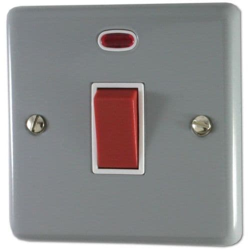 G&H CLG46W Standard Plate Light Grey 45 Amp DP Cooker Switch & Neon Single Plate